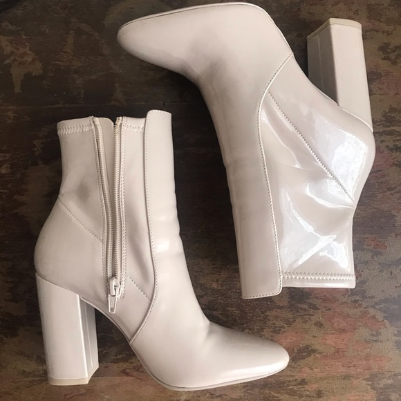Nude Winter Boots Platform Almond Zip Up High Heel Boots